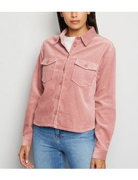 Pale Pink Corduroy Patch Pocket Crop Shirt by New Look