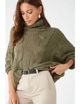 Chunky Open Knit Turtleneck Sweater by Forever 21