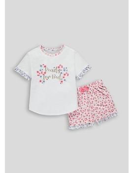 Mini Me Girls Floral Slogan Short Pyjama Set (4 13yrs) by Matalan