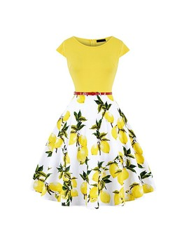 2019 Summer Women Vintage Retro 50s 60s Cap Sleeve O Neck Floral Flower Lemon Printed Rockabilly Pin Up Skater Dress Casual New by Ali Express.Com