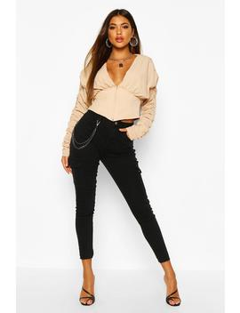 Utility Pocket Chain Detail Skinny Jean by Boohoo