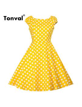 Tonval Hepburn Vintage Yellow Dress Women Cap Sleeve 2019 Summer Cotton Casual Dresses Polka Dot Rockabilly Retro Dress by Ali Express.Com