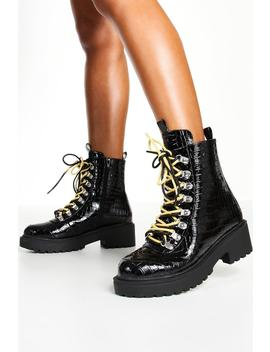 Wide Fit Croc Double Lace Chunky Hiker Boots by Boohoo