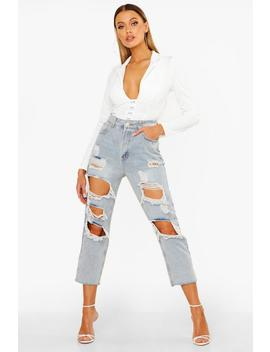 High Rise Distressed Vintage Wash Jean by Boohoo