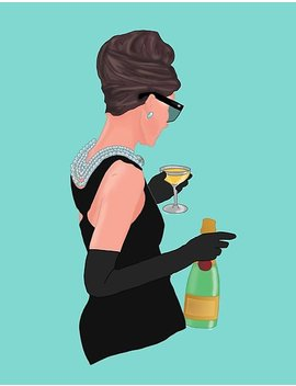 Holly Golightly   Champagne At Tiffany's Poster by Posey Bee