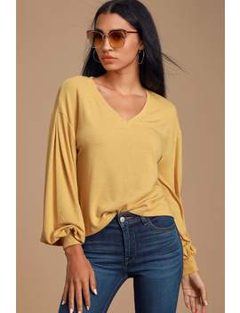 Cleah Light Mustard Yellow Balloon Sleeve Top by Lulus