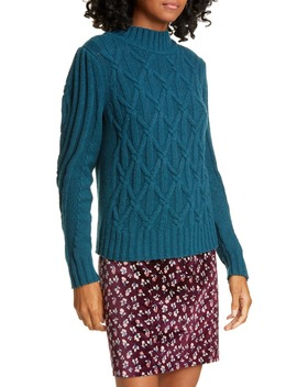 Cable Knit Merino Wool Blend Sweater by La Vie Rebecca Taylor