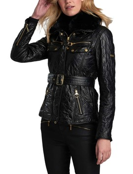 Icons International Faux Fur Collar Belted Moto Jacket by Barbour