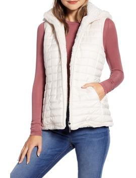 Reversible Hooded Faux Fur Vest by Gallery