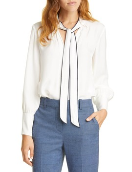 Tie Neck Silk Blend Top by Tailored By Rebecca Taylor