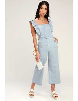 Yes Way Light Blue Chambray Culotte Jumpsuit by Jack By Bb Dakota