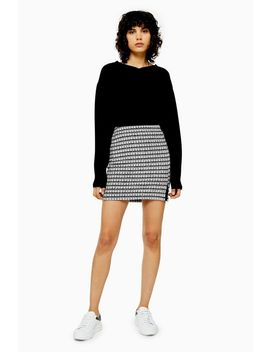 Grey Check Split Mini Skirt by Topshop