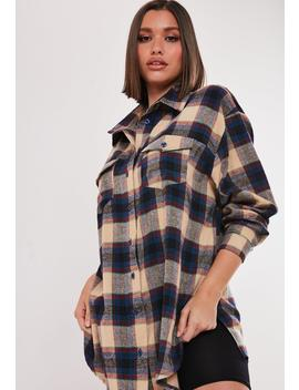 Cream Basic Oversized Plaid Shirt by Missguided
