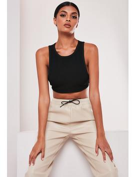 Sofia Richie X Missguided Black Rib Bandage Crop Top by Missguided
