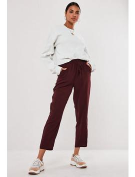 Burgundy Tie Waist Slim Leg Trousers by Missguided