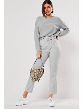 Grey Self Fabric Belted Cigarette Trousers by Missguided
