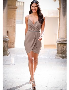 Faux Wrap Detail Tank Dress by Venus