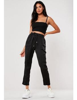 Black Satin Tie Waist Cigarette Trousers by Missguided