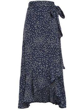 Asymmetric Ruffled Floral Print Crepe Midi Wrap Skirt by Ganni