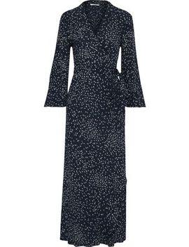 Barra Printed Crepe De Chine Wrap Maxi Dress by Ganni