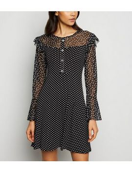 Cameo Rose Black Spot Mesh Dress by New Look