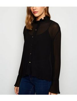 Cameo Rose Black Sheer Pleated Blouse by New Look