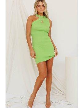 L.A Woman Ribbed Knit Mini Dress // Lime by Vergegirl