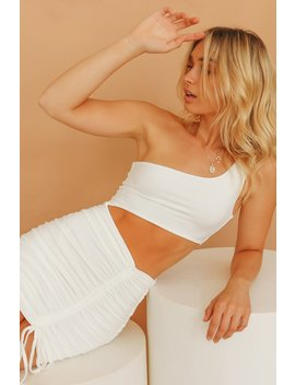 Own The Night One Shoulder Ruched Mini Dress // White by Vergegirl