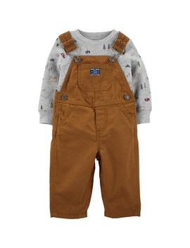 Baby Boy Carter's 2 Piece Camping Tee & Khaki Overalls Set by Carters