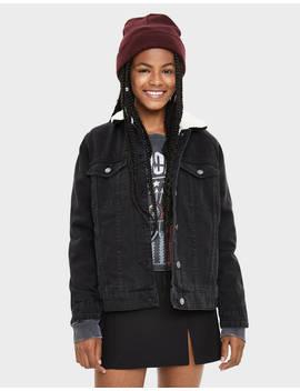 Denim Jacket With Faux Shearling Jackets   Bershka United States by Bershka