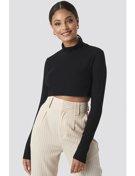 Wide Rib Polo Neck Long Sleeve Cropped Top Black by Na Kd