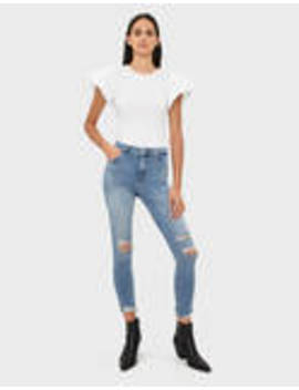 High Rise Skinny Jeans With Rips by Bershka