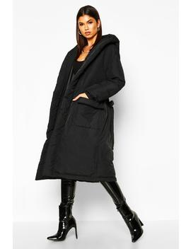 Hooded Belted Longline Puffer by Boohoo