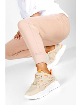 Contrast Panel Lace Up Chunky Trainers by Boohoo