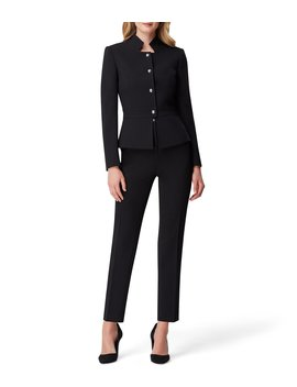 Pebble Crepe Stand Collar Four Button Jacket 2 Piece Pant Suit by Tahari Asl