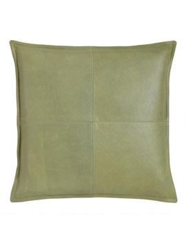 Green Leather Kona Throw Pillow by World Market