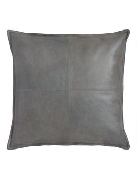 Gray Leather Kona Throw Pillow by World Market