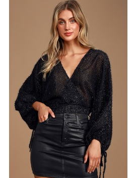 Heyleigh Black Sparkly Swiss Dot Balloon Sleeve Surplice Top by Lulus