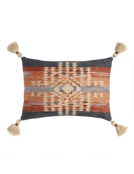 Gray And Rust Kilim Nova Indoor Outdoor Lumbar Pillow by World Market