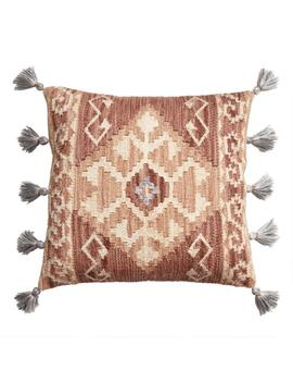 Rust Kilim Indoor Outdoor Throw Pillow With Tassels by World Market
