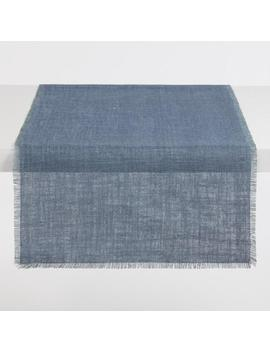 Oversized Blue And Aqua Jute Reversible Table Runner by World Market