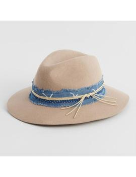 Tan Denim Trim Wool Rancher Hat by World Market