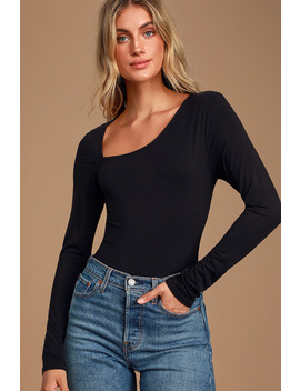 Spotlight On Black Long Sleeve Bodysuit by Lulus