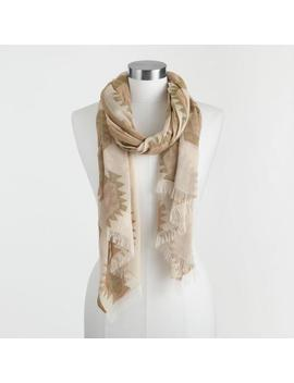 Ivory, Sage Green And Terracotta Southwest Scarf by World Market