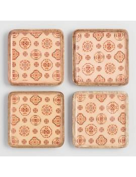 Square Terracotta Sunbaked Wood Coasters 4 Pack by World Market