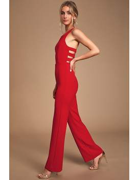 Night Is Young Red Wide Leg Backless Jumpsuit by Lulus