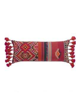 Oversized Red Southwest Harper Lumbar Pillow With Tassels by World Market