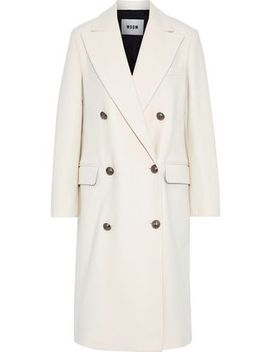 Double Breasted Wool Blend Felt Coat by Msgm