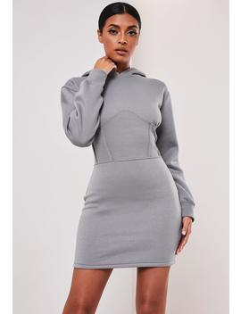 Sofia Richie X Missguided Gray Corset Hooded Sweater Dress by Missguided