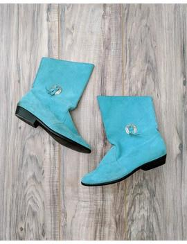 Vintage 70s Wimzees Vegan Suede Turquoise Leather Short Boots With Metal Decor by Etsy